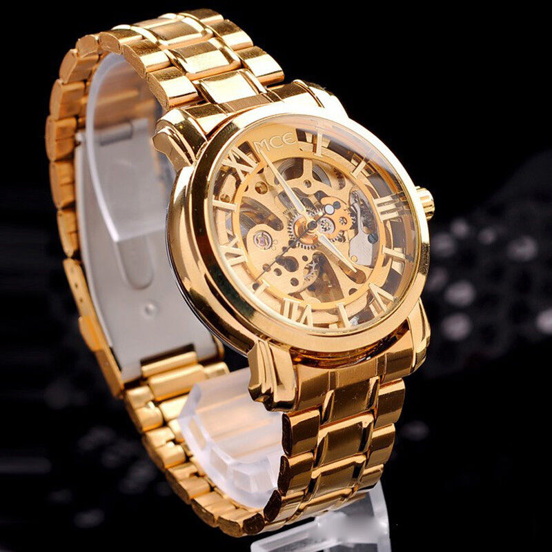 "Classic Men""s Gold Dial Mechanical Automatic Self-Winding ..."