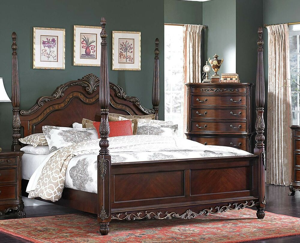 beautiful burl inlay 4 poster king bed bedroom furniture 12928 | s l1000