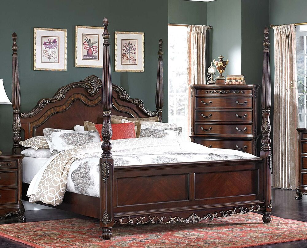 beautiful burl inlay 4 poster king bed bedroom furniture 12927 | s l1000