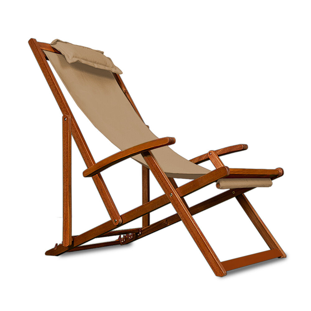 Wooden Folding Garden Deck Chair Made Acacia Hardwood Colour Beige Crea