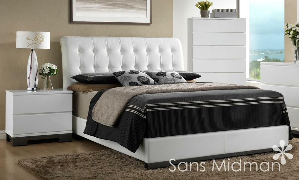 New averi white modern bedroom furniture 3 piece queen for 3 piece queen size bedroom set