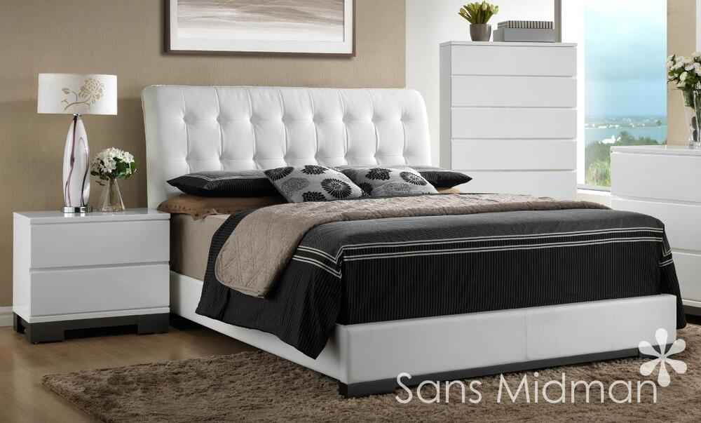 New Averi White Modern Bedroom Furniture 3 Piece Queen Size Platform Bed Set Ebay