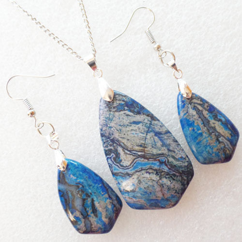 w7018 uncommon blue crazy lace agate necklace amp earring