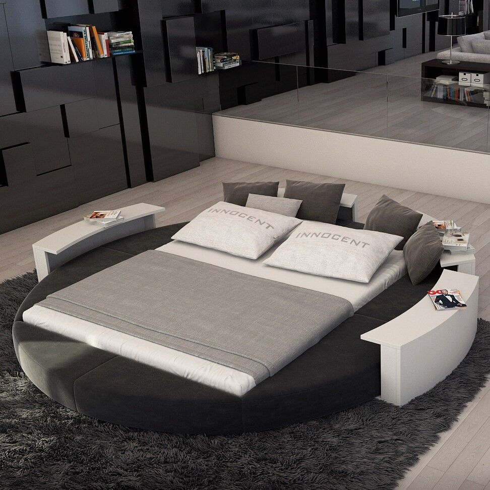 Rotana modern queen size round bed fabric white on gray for Cheap nice furniture