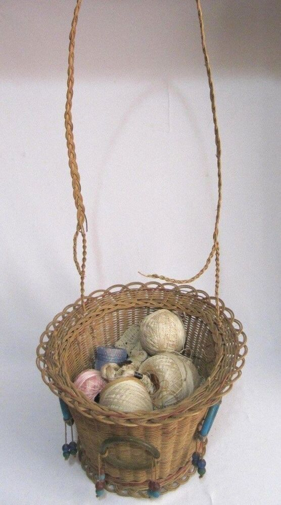 Antique woven wicker reed round hanging sewing basket for Wicker reed