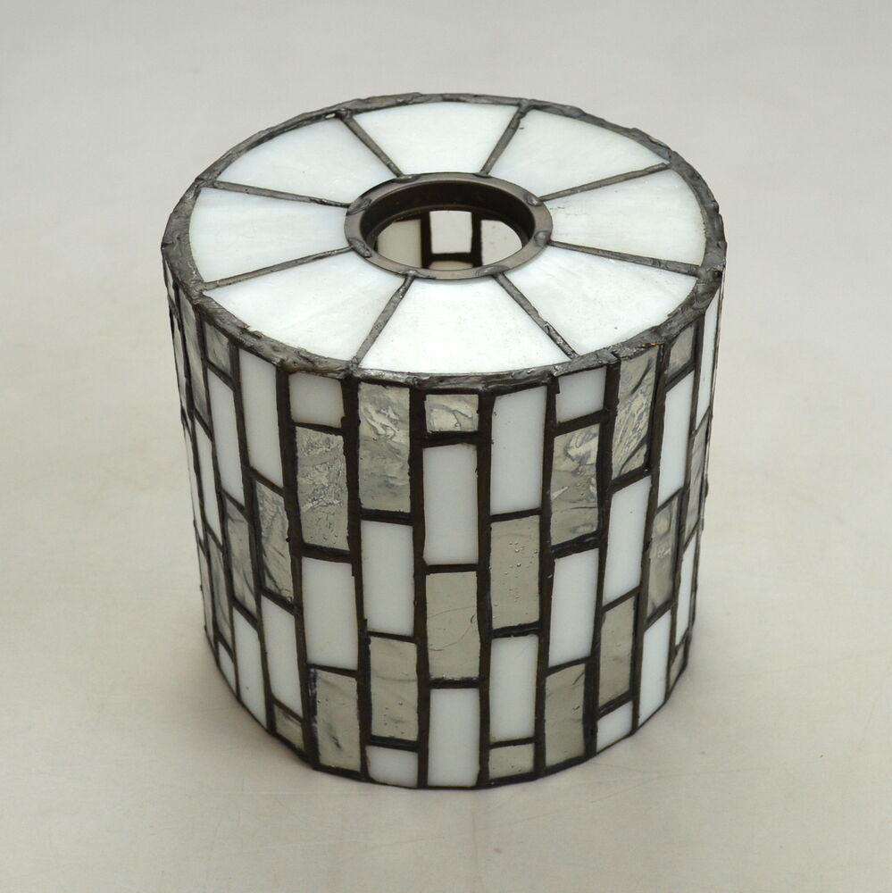 vtg leaded stained glass art deco small retro lamp shade fixture. Black Bedroom Furniture Sets. Home Design Ideas
