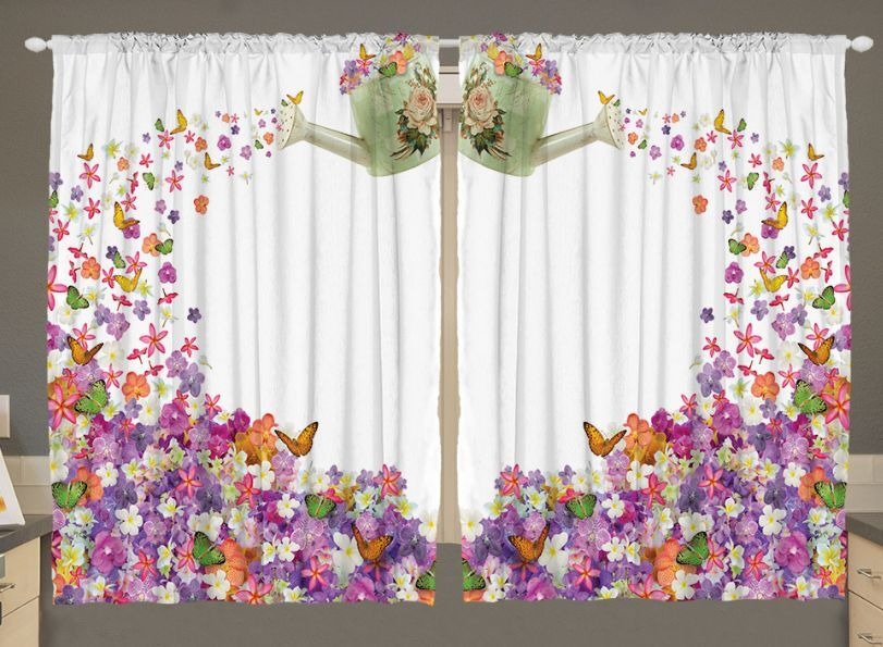 Flowers Kitchen CURTAIN PANEL Set Butterflies Watering Can