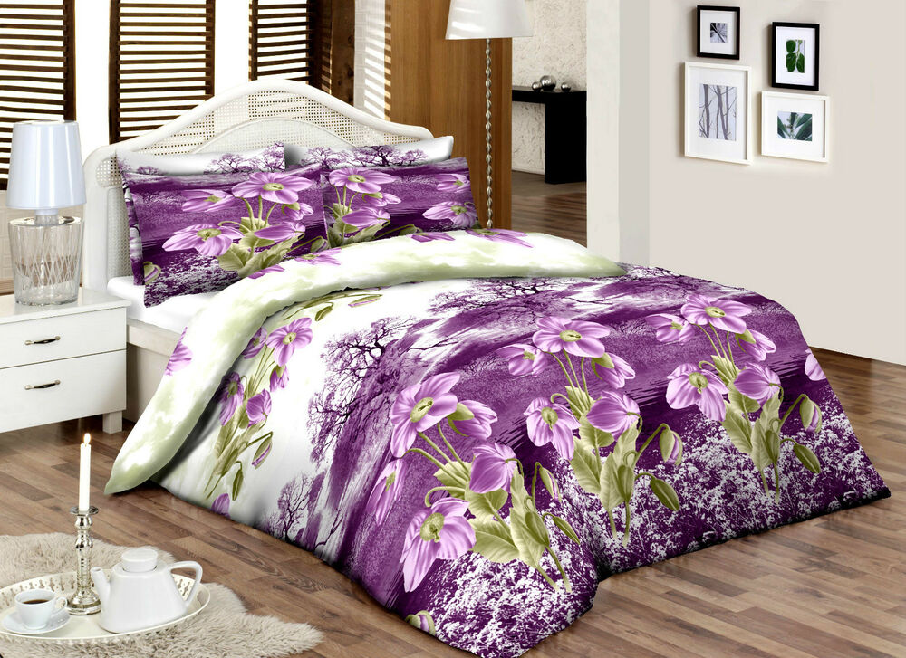 lilacgreenfloral super king 100 cotton percale qualityprinted duvet cover set ebay. Black Bedroom Furniture Sets. Home Design Ideas