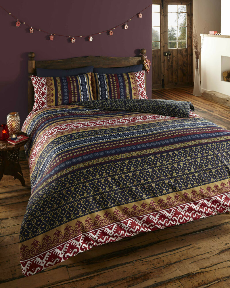 double bed duvet cover set multi retro indian design wine gold white navy stripe ebay. Black Bedroom Furniture Sets. Home Design Ideas