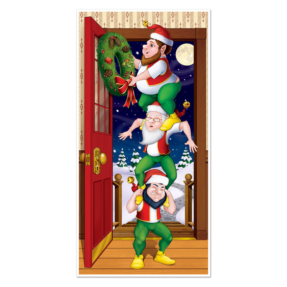 Christmas party decoration santa 39 s elves door cover mural for Door decorations for christmas