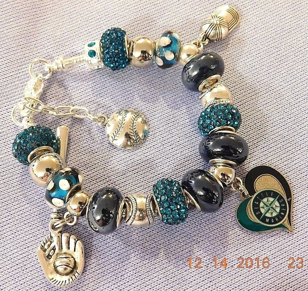 Mlb seattle mariners crystal team charm bracelet felix for Sell gold jewelry seattle
