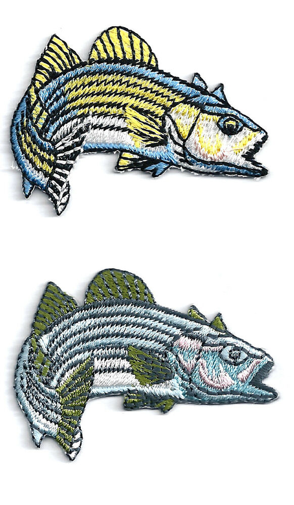 Set of 2 fish striped bass fishing embroidered for Iron in fish