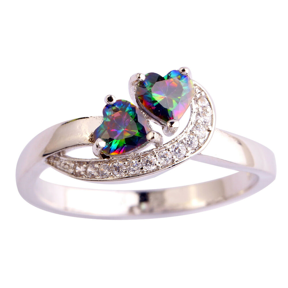 Gemstones For Rings: Heart Rainbow White Gemstone Jewelry Silver Ring Size 6 7