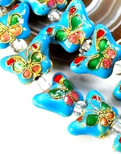 Turquoise Blue Cloisonne Butterfly 10x15x6mm Beads 15