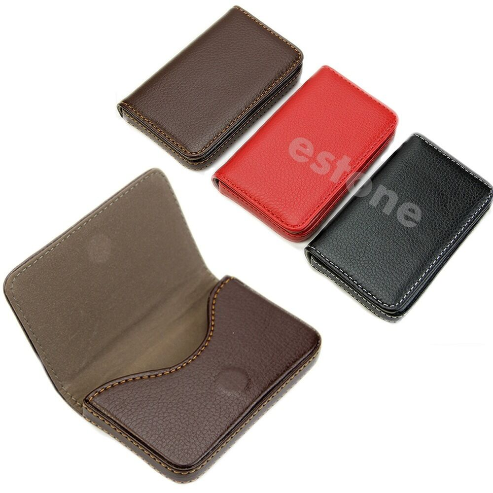 New Pocket Leather Business ID Credit Card Holder Case