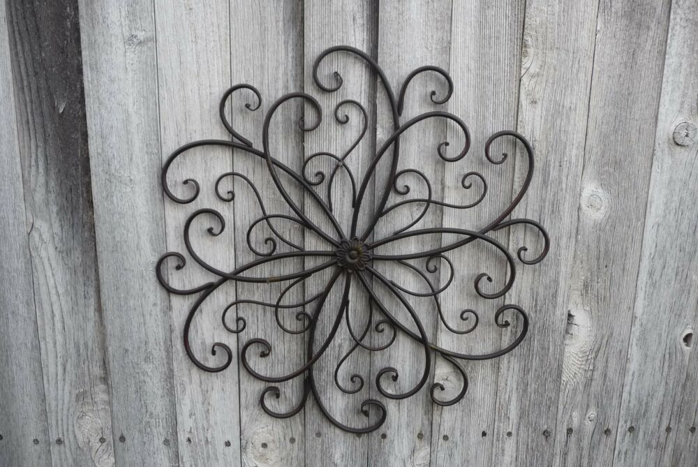 Metal SCROLL Swirl Flower Design Wall Art Large Hanging