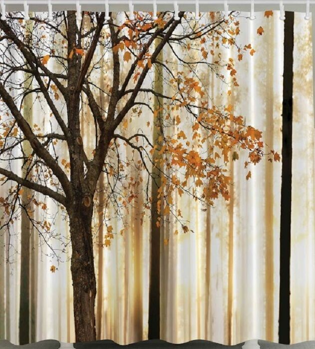 Fall Trees Falling Leaves Fabric SHOWER CURTAIN Autumn