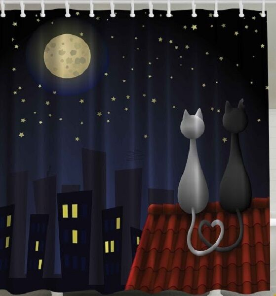 Black White Cats Roof Fabric Shower Curtain Love Heart