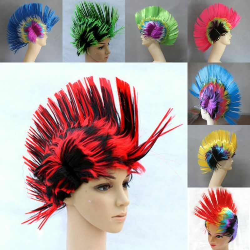 multi color rainbow mohawk 70s 80s rock punk hair costume