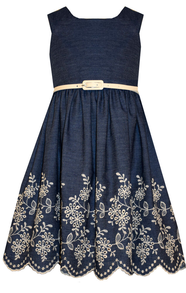 New bonnie jean special occasion girls chambray dress with