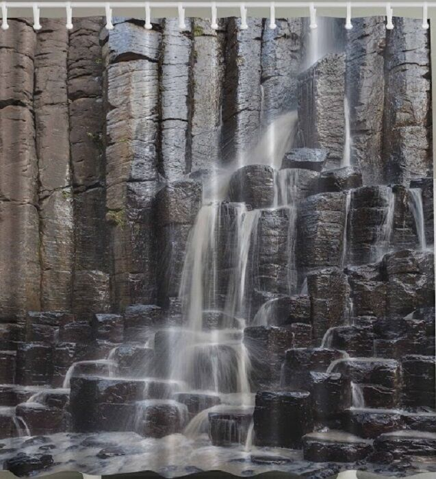Awesome Waterfall Rock Wall Fabric SHOWER CURTAIN Rocks Stone Nature Falls Bath  Decor | EBay