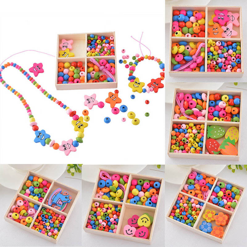 Kid Craft Beads: 1Box Wooden Beads Kit Jewelry Necklace Bracelet Kids