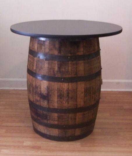 Whiskey Barrel Table With 36 Quot Black Table Top Reversible