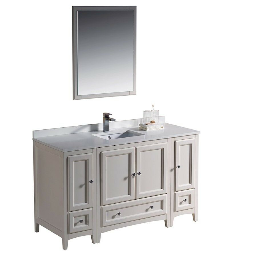 Fresca Oxford 54 Antique White Traditional Bathroom Vanity W 2 Side Cabinets Ebay