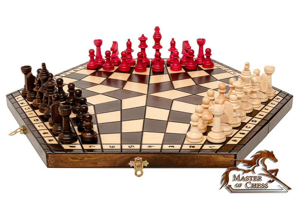Wow large wooden chess set for 3 players perfect hand for Hand crafted chess set