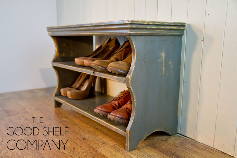 Shoe Storage Rack Bench Cupboard Shelf Cabinet Vintage Grey Good Shelf Co Ebay
