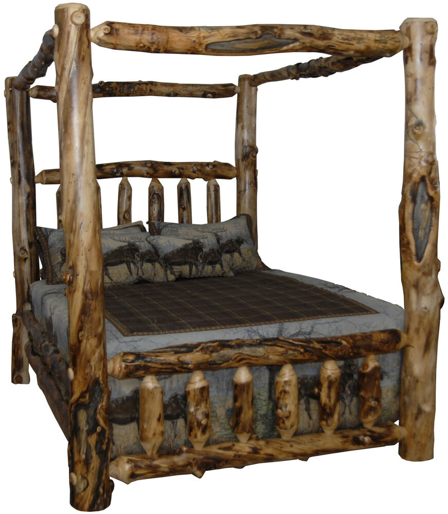 Rustic aspen log bed king size canopy style ebay Log style beds