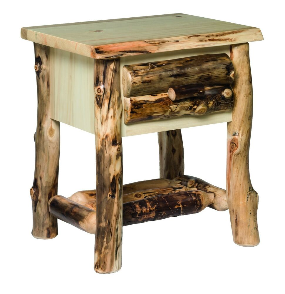 Rustic aspen log nightstand 1 drawer ebay - Pictures of nightstands ...
