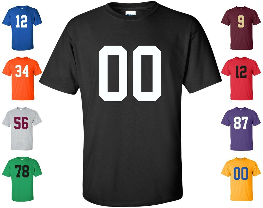 Custom Any Number T Shirt 1 Color Football Hockey Lacrosse