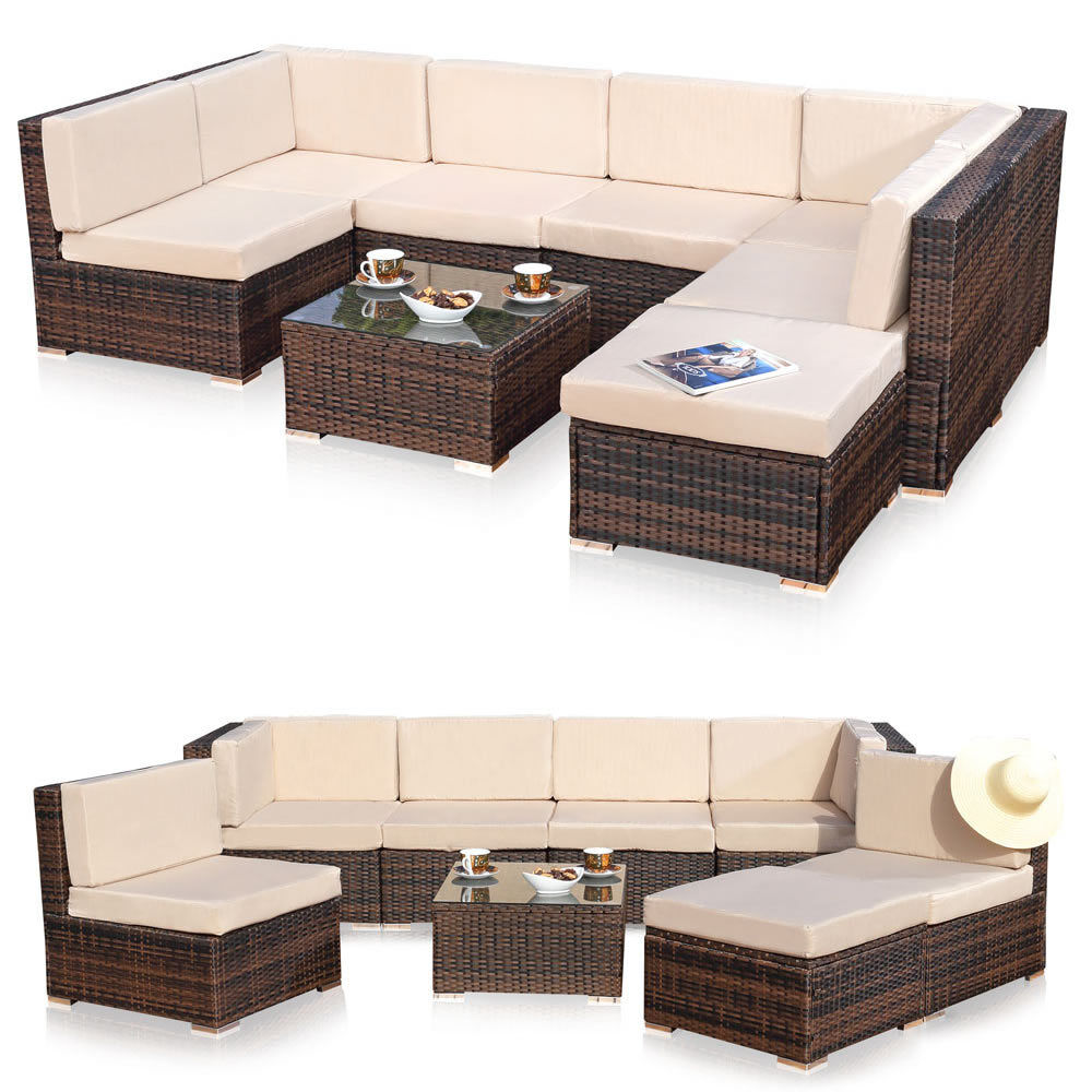 xxl rattanm bel gartenset braun aus polyrattan lounge gartenm bel sitzgruppe ebay. Black Bedroom Furniture Sets. Home Design Ideas