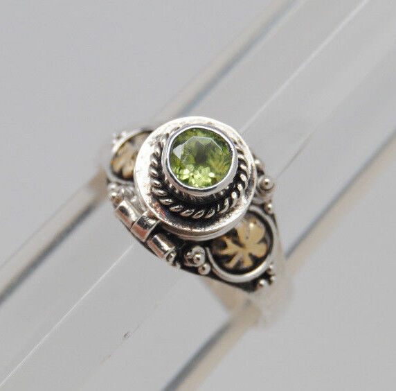 green peridot cremation urn ring 9 sterling silver
