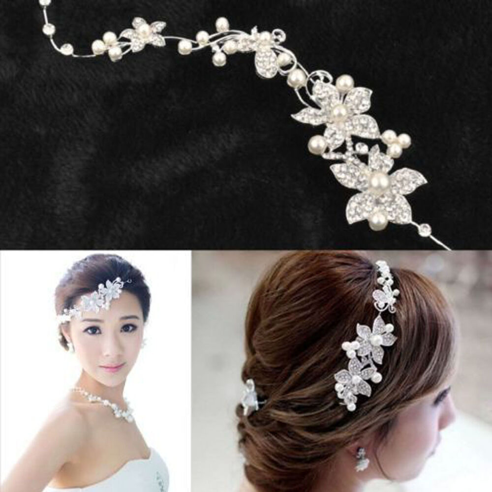 H New Women Wedding Flower Beauty Crystal Headband Fashion ...