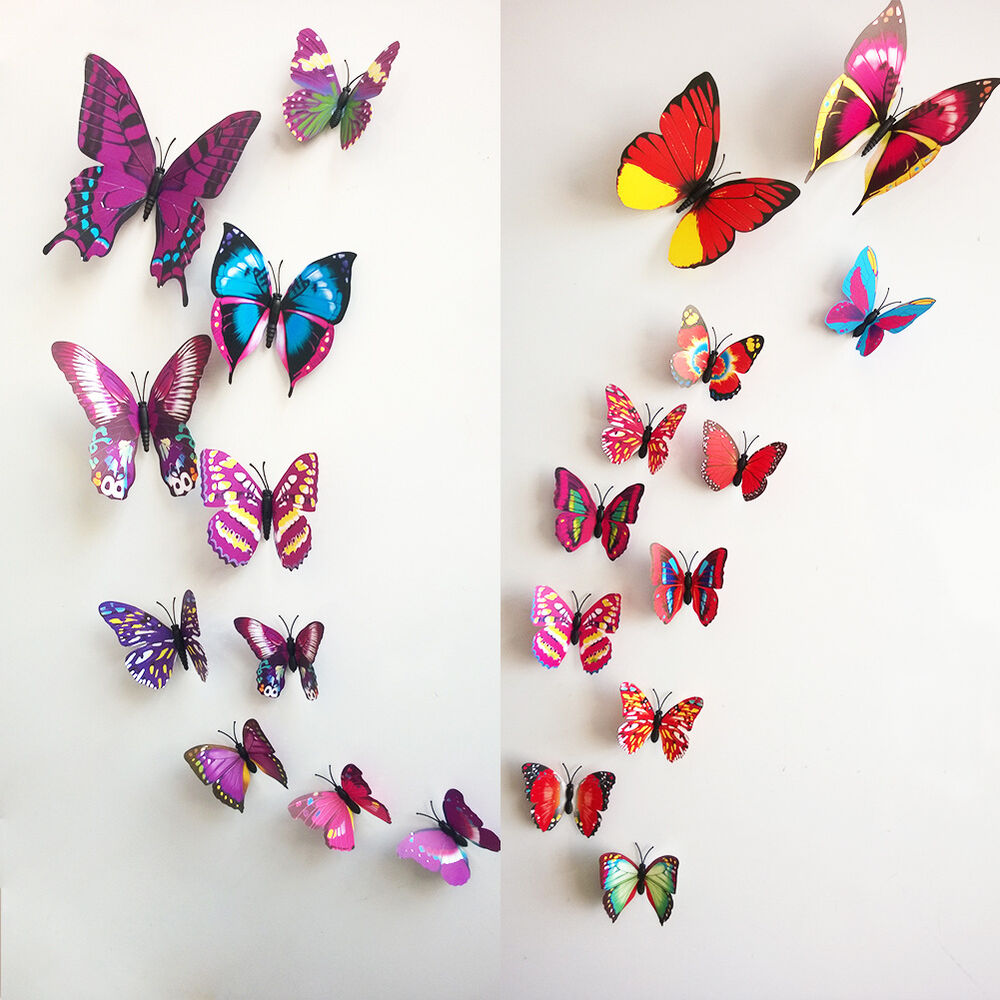 Diy 3d 12pc butterfly wall sticker home decor room for Butterfly design on wall