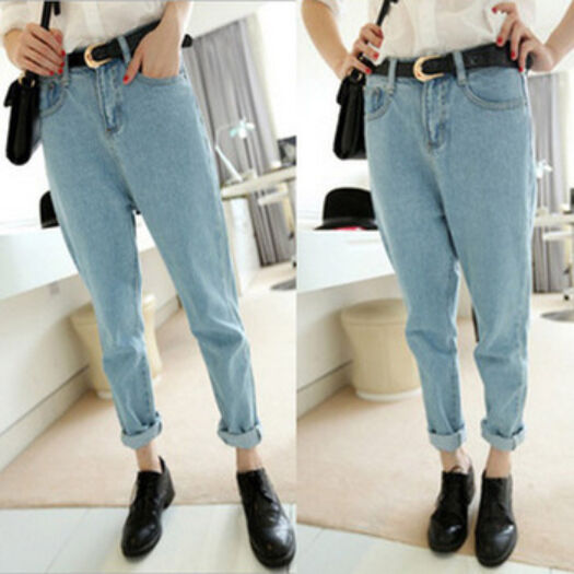 Womens Mid Waisted Baggy Boyfriend Oversized Mom Jeans ...