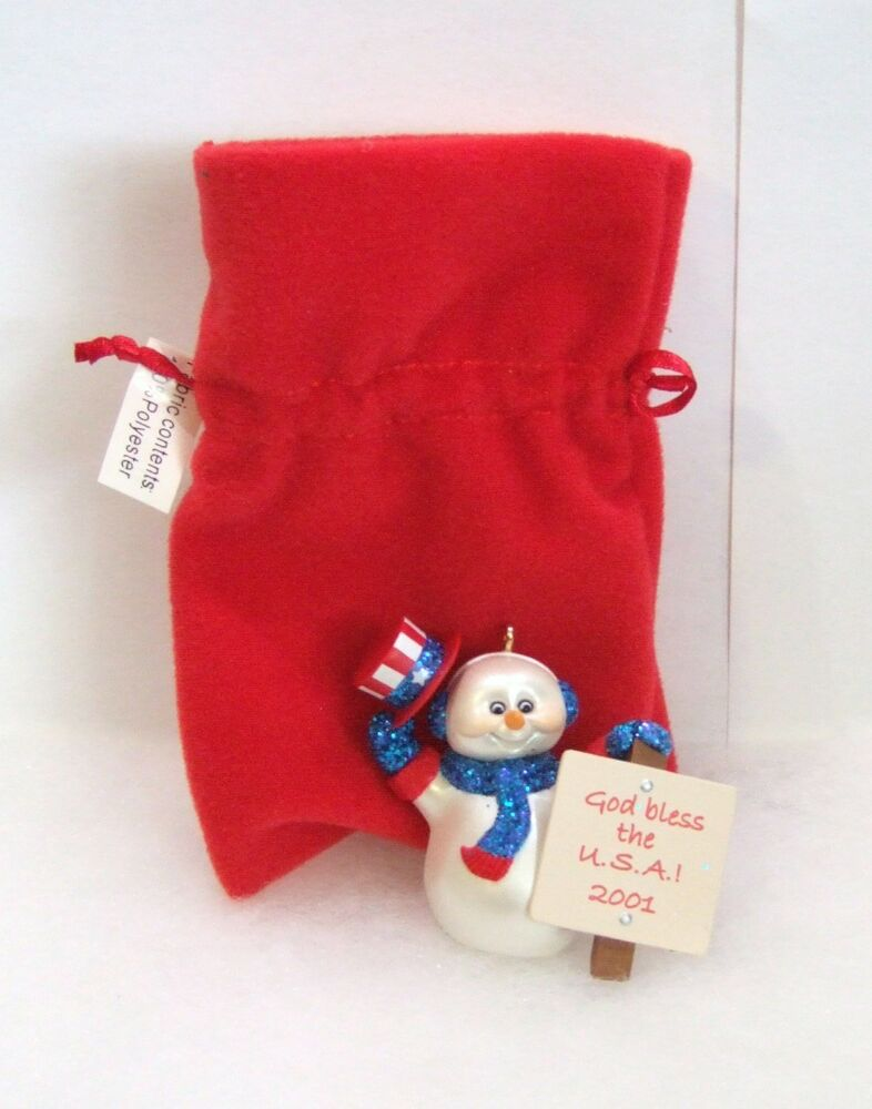 Hallmark ornament cool patriots snowman god bless usa 2001 Hallmark usa