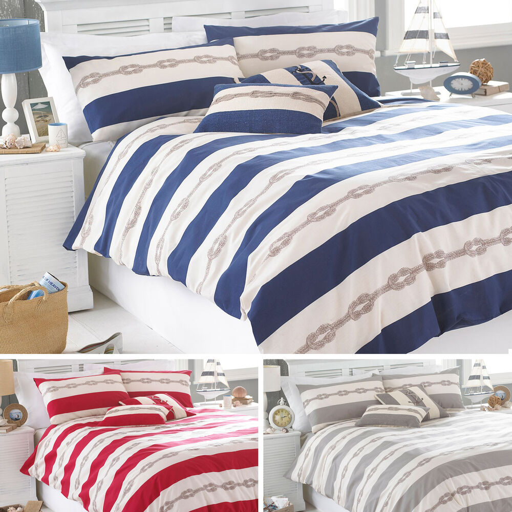 Riva Home Reef Natural Striped Stripe Nautical Duvet Quilt