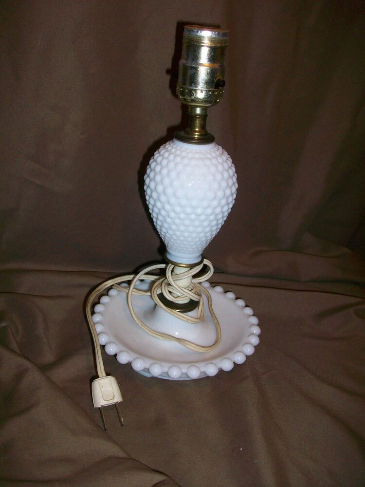 imperfect mid century white milk glass hobnail table