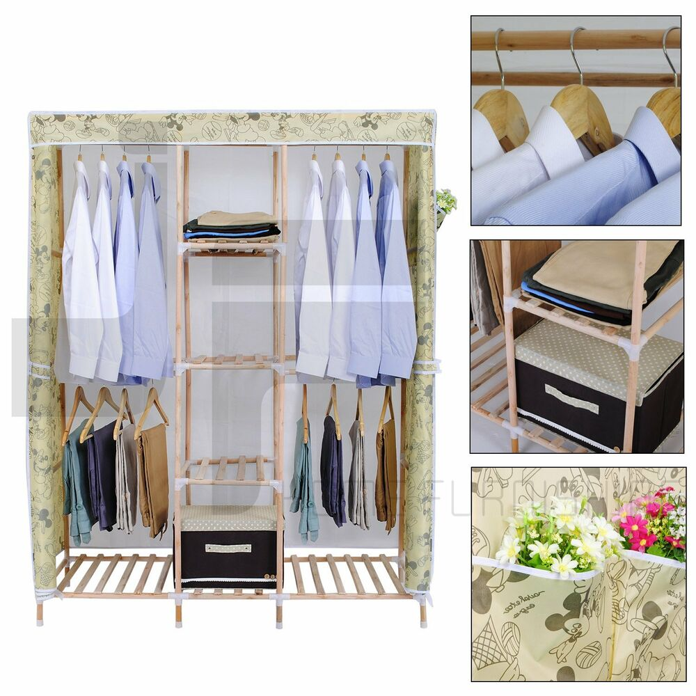 Wood Wardrobe Closets For Coats And Dresses ~ Wooden triple canvas clothes bedroom storage wardrobes