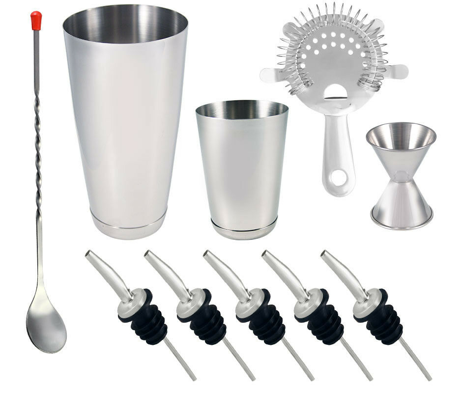 10 piece stainless steel professional bartending cocktail shaker set ebay. Black Bedroom Furniture Sets. Home Design Ideas