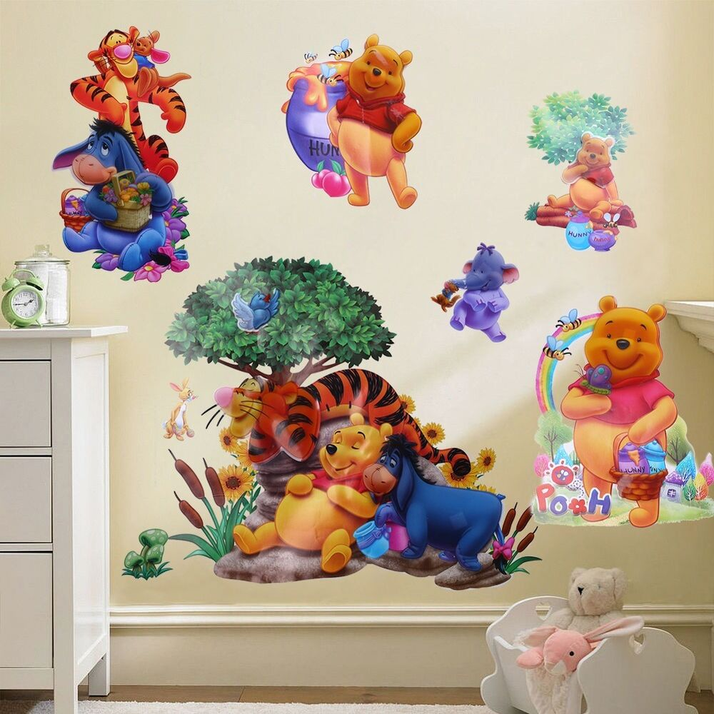 Cartoon winnie the pooh vinyl art wall stickers decals for Room decor stickers