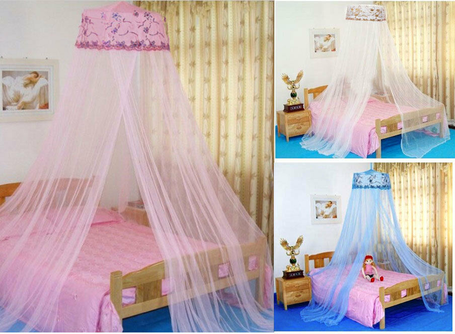 Princess Round Sequins Curtain Dome Bed Girl Canopy