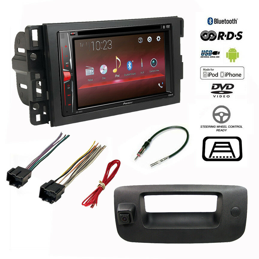 pioneer double din bluetooth stereo backup camera chevy silverado radio dash kit ebay. Black Bedroom Furniture Sets. Home Design Ideas