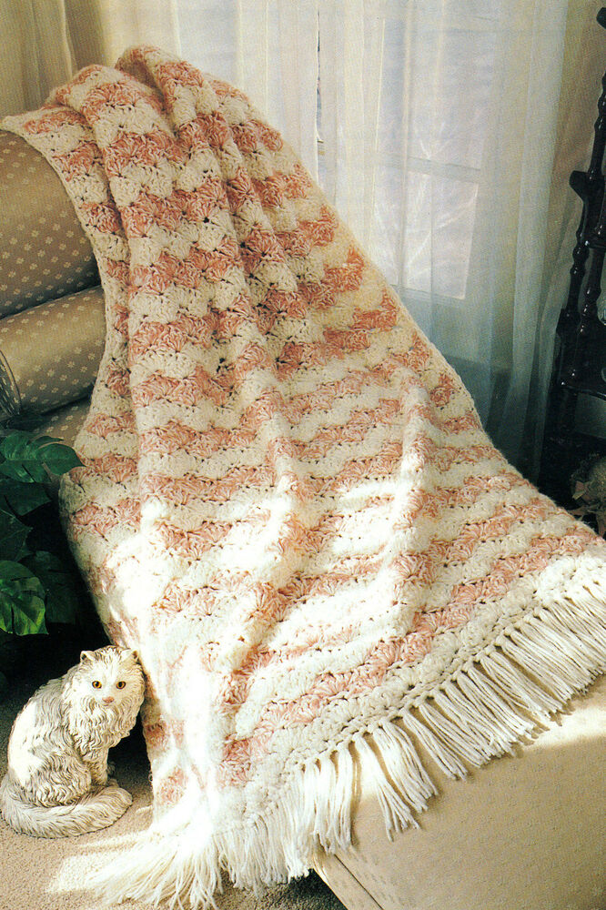 Crochet Patterns Quick : QUICK & Easy Shell Afghan/Crochet Pattern Instructions eBay