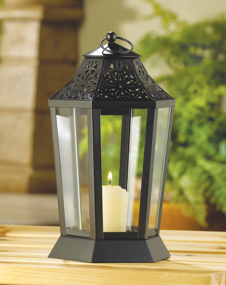 Black moroccan quot tall candle holder lantern lamp light