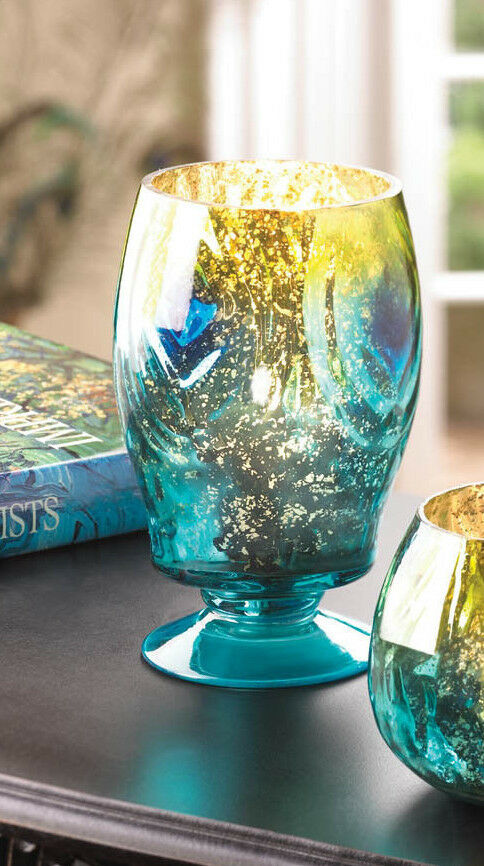 Teal blue peacock mercury glass tall pedestal candle