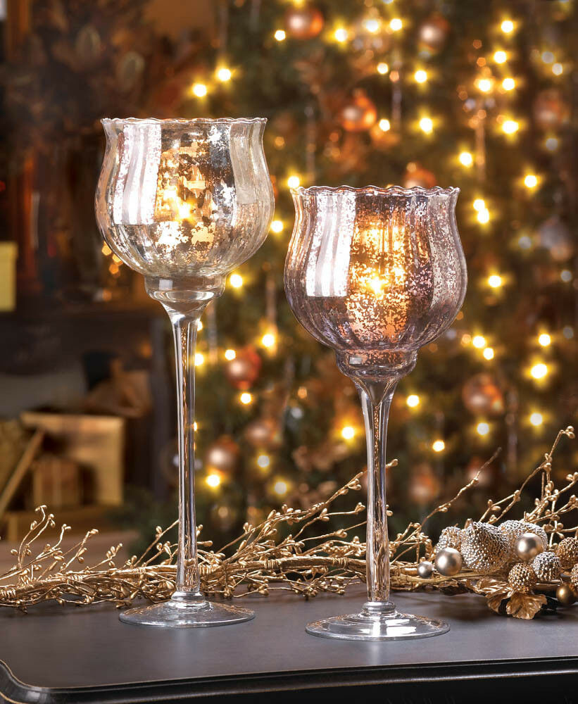Wedding Reception Centerpieces Candles: LARGE Silver Mercury Glass Chalice Candle Cup Holder
